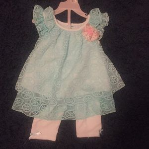 Other - 24 month baby girl teal dress and leggings